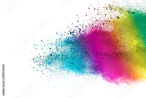 Freeze motion of colorful color powder exploding on white background Canvas Print