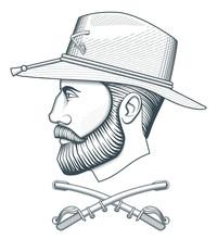 Vintage Cavalry Officer Head