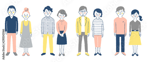 Obraz na plátne  4 sets of  smiling young couples,whole body