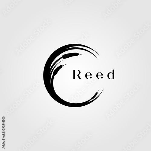 Fototapeta reed river grass letter c initial logo vector illustration design