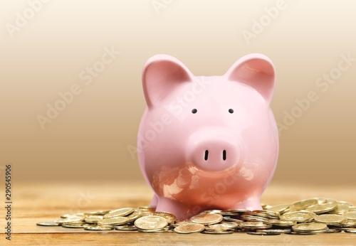 Fototapeta Pink piggy bank and coins on background obraz