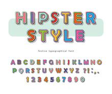 Hipster Style Font Design. Comic Pop Art Colorful Letters And Numbers. Vector