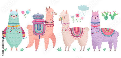 Fotografia Cute Llamas with funny quotes. Funny hand drawn characters.