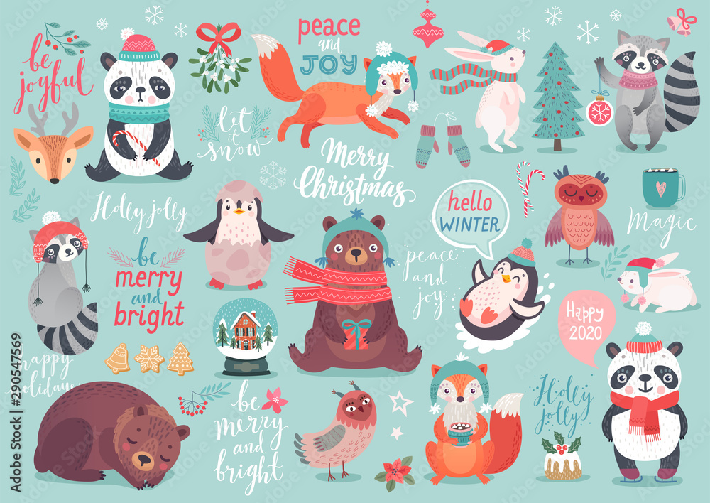 Fototapety, obrazy: Christmas set, hand drawn style - calligraphy, animals and other elements.