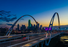 Dallas Skyline At Sunrise Aerial