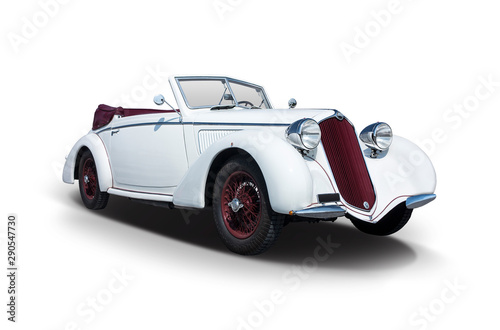 Poster Vintage voitures White Italian Antique car isolated on white