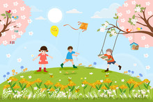 Cute Cartoon Spring Landscape ...
