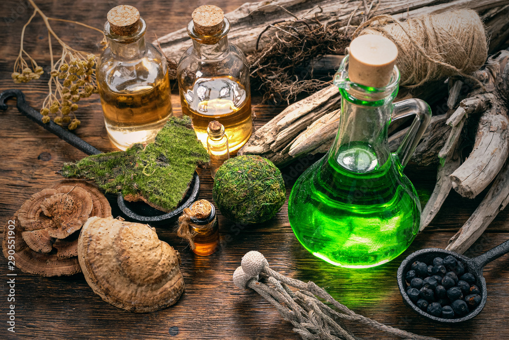 Fototapety, obrazy: Green magic potion bottle on a wizard table. Herbal medicine with dried ingredients on the table background. Witch doctor concept.