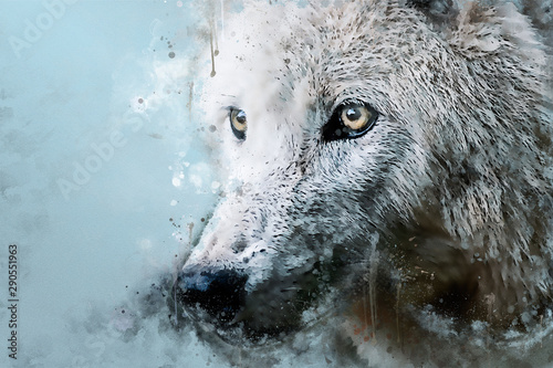 Majestic Wolf Mixed media portrait of a animal Canvas Print