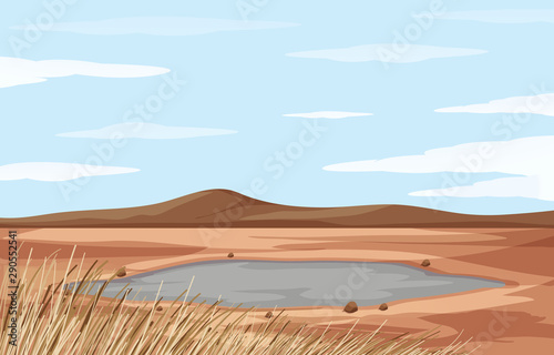 Photo sur Aluminium Jeunes enfants Scene with pond and dry land