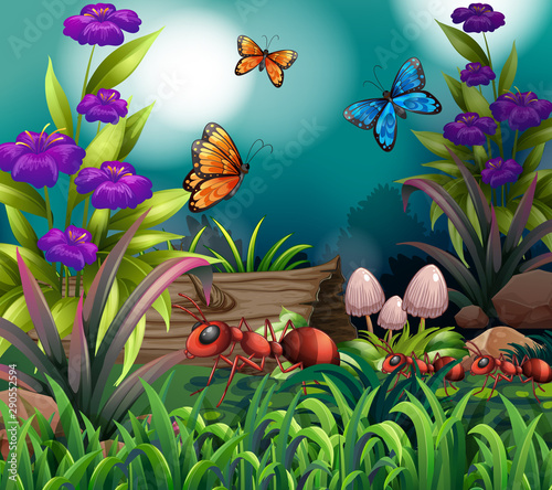Jeunes enfants Background scene with butterflies and ants in garden