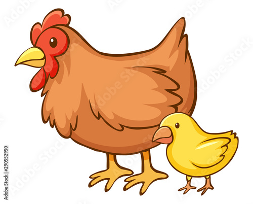Poster Kids Hen and little chick on white background
