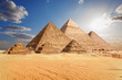 The Pyramids of Giza in the clouds, Cairo, Egypt