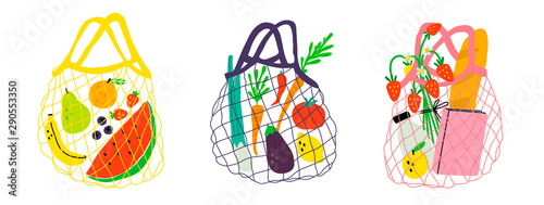 Obraz na plátně Set of three eco shopping net bags with various products
