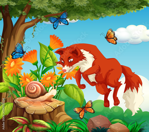 Jeunes enfants Background scene with red fox and insect in the park