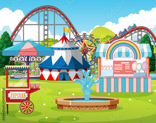 Canvas Prints Kids An outdoor funfair scene