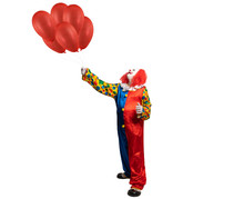 A Funny Clown Holds Ballons In His Hand