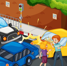Accident Scene With People And Car Crash