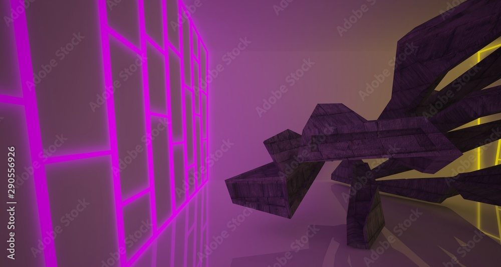 Fototapeta Abstract architectural concrete interior of a minimalist house with color gradient neon lighting. 3D illustration and rendering.