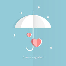 Paper Cutting Of Two Hearts Under Umbrella In Rainy Day