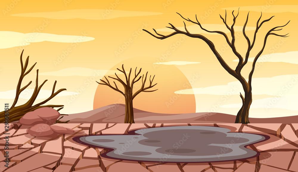 Fototapeta Deforestation scene with drought land