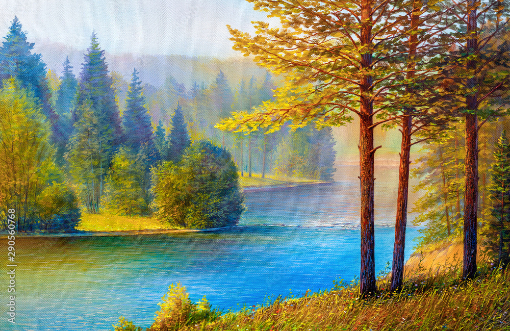 Fototapeta Morning landscape with pines and river.