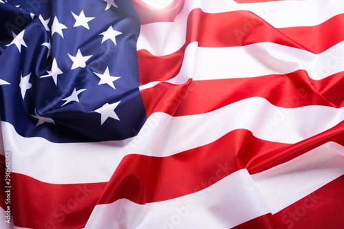 Fotografia  Flag of the United States of America closeup