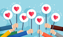 Group Of Business People With Red Heart Placard. Social Media, Network. Good Opinion. Testimonials, Feedback, Customer Review, Like Concept. Valentines Day. Vector Flat Design