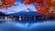 Leinwanddruck Bild - Fuji mountain and Kawaguchiko lake in morning, Autumn seasons Fuji mountain at yamanachi in Japan.
