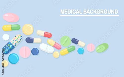 Set of pills, medicine, drugs Fototapeta