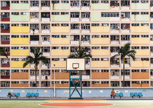 Basketball Court In Front Of A...