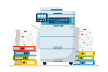 Printer, Office Machine With Paper, Document Stack. Scanner, Copy Equipment. Paperwork. Multifunction Device. Vector Cartoon Design