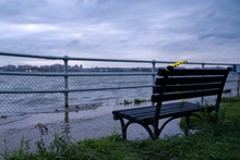 Park Bench In A Flooded Area At Haines Point In Washington DC