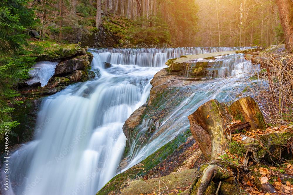 Fototapety, obrazy: River in the forest, Szklarki waterfall