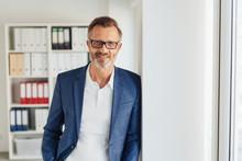 Smart Bearded Businessman Wearing Glasses