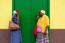 Two Old Cuban Ladies Smoking A...