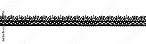 Valokuvatapetti Black lace ribbon isolated shot