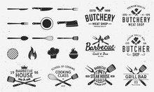 Collection Of Butchery, Barbecue And Grill  Logos, Emblems, Labels, Badges. Set Of 8 Logo Templates And 13 Design Elements For Logo Design. Vector Templates
