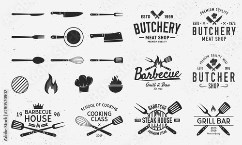 Fotografiet Collection of Butchery, Barbecue and Grill  logos, emblems, labels, badges