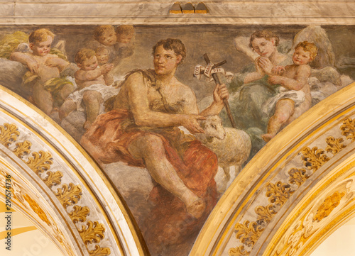 ACIREALE, ITALY - APRIL 11, 2018: The fresco of St. John the Baptist in Duomo by Giuseppe Sciuti (1907).