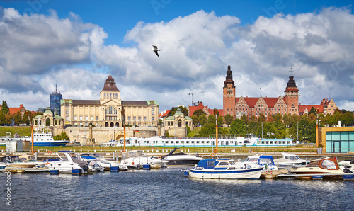Obraz Szczecin cityscape with marina on a sunny day, Poland - fototapety do salonu