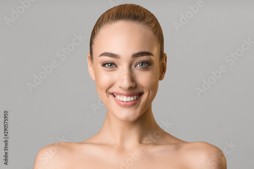 Recess Fitting Spa Beauty portrait. Beautiful woman with perfect smile