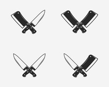 Set Of Butcher Shop Icons. Cro...
