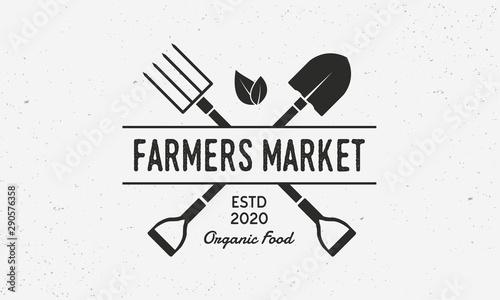 Obraz na plátne Farmers Market vintage logo