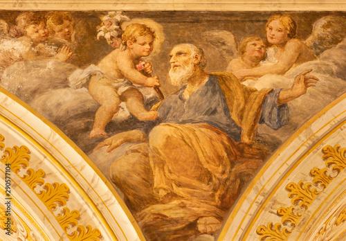 ACIREALE, ITALY - APRIL 11, 2018: The fresco of St. Giuseppe in Duomo by Giuseppe Sciuti (1907).