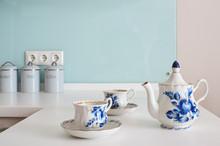 Tea Set In The White Kitchen