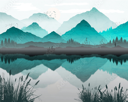 Wall Murals Pale violet Oriental Japanese landscape, with fishing boat and lone fisherman on banks of lake. Reflection of mountains and trees in water, mist forming over water. Processed in graduated turqoise tones.