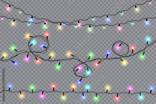 Obraz Set of christmas lights isolated realistic design elements. Glowing lights for Xmas Holiday cards, banners, posters, web design. Garlands decorations. Vector illustration. - fototapety do salonu