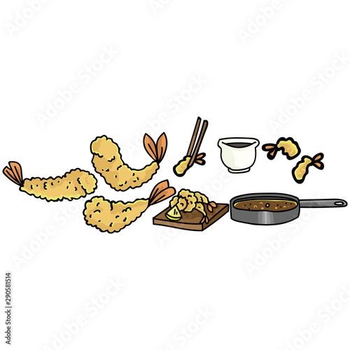 Fotomural Cute tempura cooking set illustration