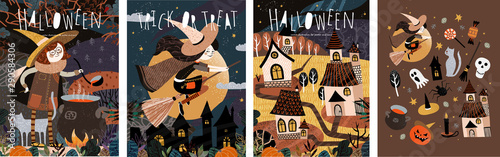 Ingelijste posters Halloween Happy Halloween! Vector cute illustration of a witch preparing a potion; witches on a broomstick; scary houses in a city or village and a set of objects. Drawings for card, poster or background.